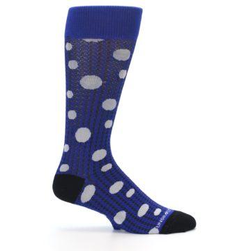 Image of Blue Herringbone Dots Men's Dress Socks (side-1-24)