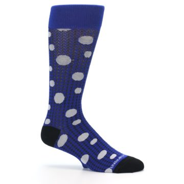 Image of Blue Herringbone Dots Men's Dress Socks (side-1-25)