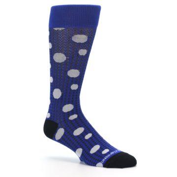 Image of Blue Herringbone Dots Men's Dress Socks (side-1-26)