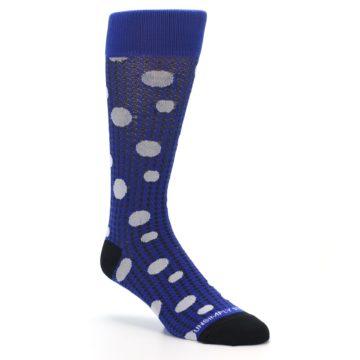 Image of Blue Herringbone Dots Men's Dress Socks (side-1-27)