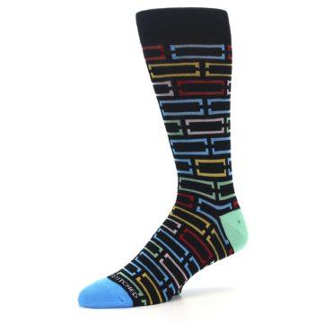 Image of Black Multi Frames Men's Dress Socks (side-2-09)
