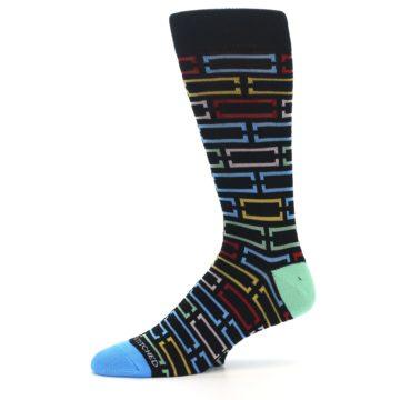Image of Black Multi Frames Men's Dress Socks (side-2-10)