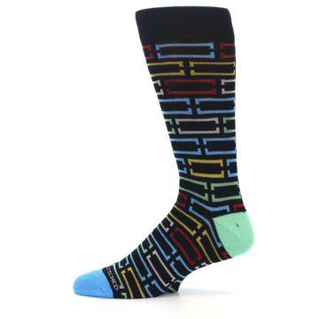 Image of Black Multi Frames Men's Dress Socks (side-2-11)
