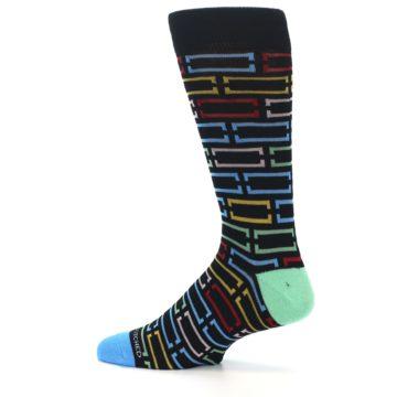 Image of Black Multi Frames Men's Dress Socks (side-2-12)