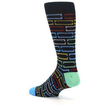 Image of Black Multi Frames Men's Dress Socks (side-2-13)