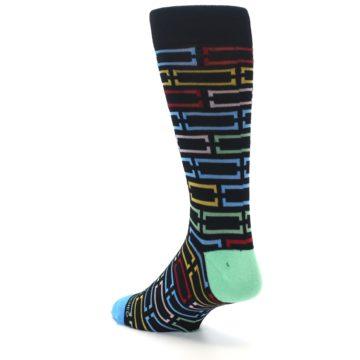 Image of Black Multi Frames Men's Dress Socks (side-2-back-14)