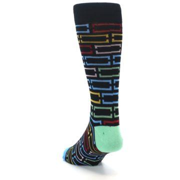 Image of Black Multi Frames Men's Dress Socks (side-2-back-15)