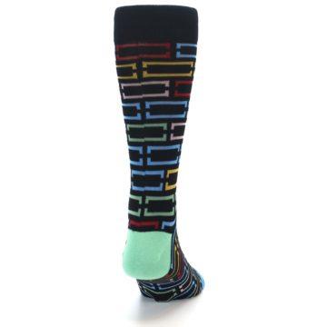 Image of Black Multi Frames Men's Dress Socks (back-18)
