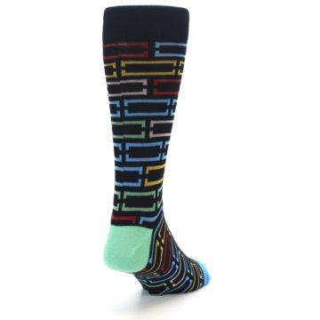 Image of Black Multi Frames Men's Dress Socks (back-19)