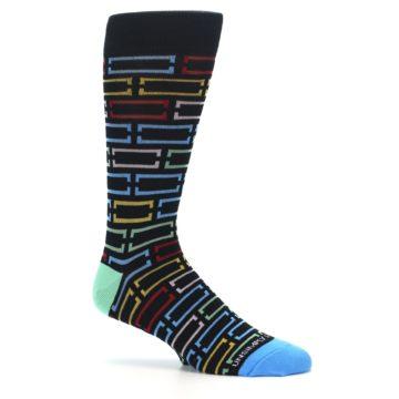 Image of Black Multi Frames Men's Dress Socks (side-1-25)