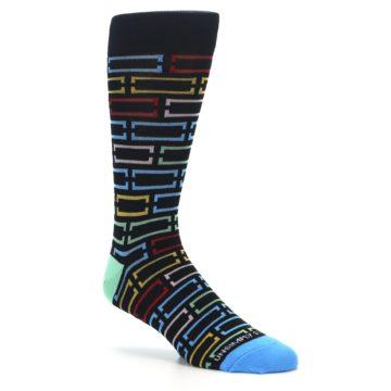 Image of Black Multi Frames Men's Dress Socks (side-1-26)