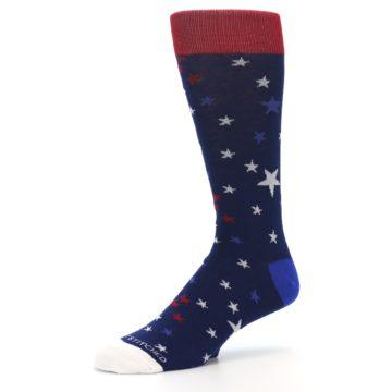 Image of Navy Red White Patriotic Stars Men's Dress Socks (side-2-09)