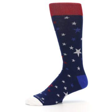 Image of Navy Red White Patriotic Stars Men's Dress Socks (side-2-10)
