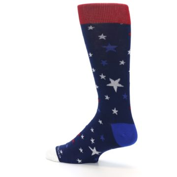 Image of Navy Red White Patriotic Stars Men's Dress Socks (side-2-13)