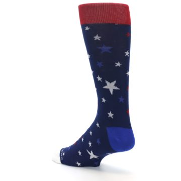 Image of Navy Red White Patriotic Stars Men's Dress Socks (side-2-back-14)