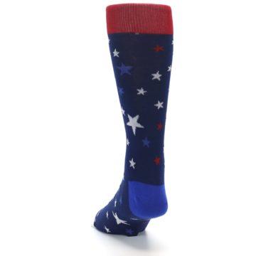 Image of Navy Red White Patriotic Stars Men's Dress Socks (side-2-back-16)