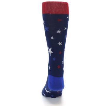Image of Navy Red White Patriotic Stars Men's Dress Socks (back-17)