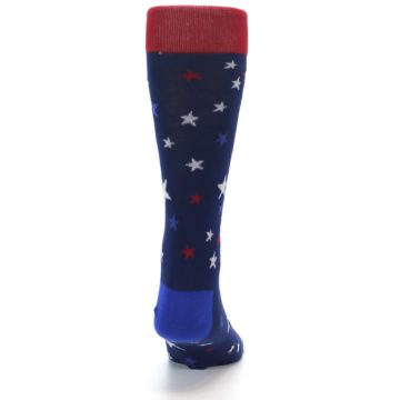 Image of Navy Red White Patriotic Stars Men's Dress Socks (back-18)