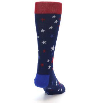 Image of Navy Red White Patriotic Stars Men's Dress Socks (back-19)