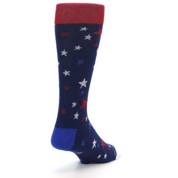 Image of Navy Red White Patriotic Stars Men's Dress Socks (side-1-back-20)