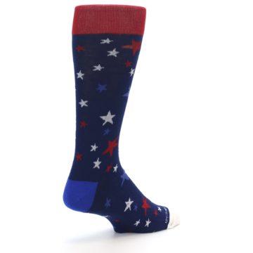Image of Navy Red White Patriotic Stars Men's Dress Socks (side-1-back-21)