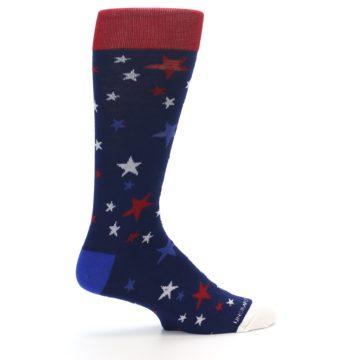 Image of Navy Red White Patriotic Stars Men's Dress Socks (side-1-23)