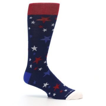 Image of Navy Red White Patriotic Stars Men's Dress Socks (side-1-25)