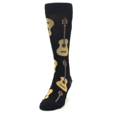 Image of Black Acoustic Guitars Men's Dress Socks (side-2-front-06)
