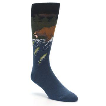 Image of Blue Green Bear Fishing Men's Dress Socks (side-1-front-02)