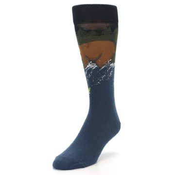 Image of Blue Green Bear Fishing Men's Dress Socks (side-2-front-08)