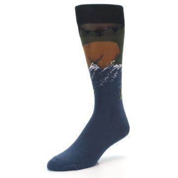 Image of Blue Green Bear Fishing Men's Dress Socks (side-2-09)