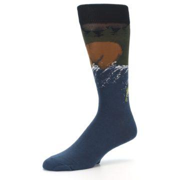Image of Blue Green Bear Fishing Men's Dress Socks (side-2-10)