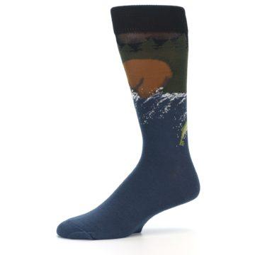 Image of Blue Green Bear Fishing Men's Dress Socks (side-2-11)