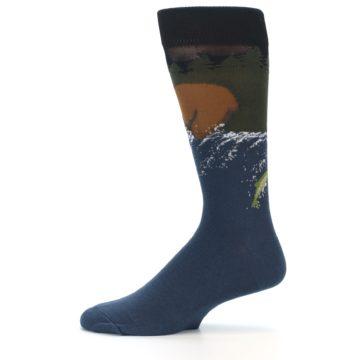 Image of Blue Green Bear Fishing Men's Dress Socks (side-2-12)