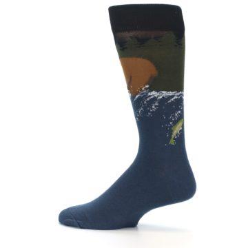 Image of Blue Green Bear Fishing Men's Dress Socks (side-2-13)