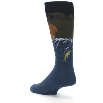 Image of Blue Green Bear Fishing Men's Dress Socks (side-2-back-15)