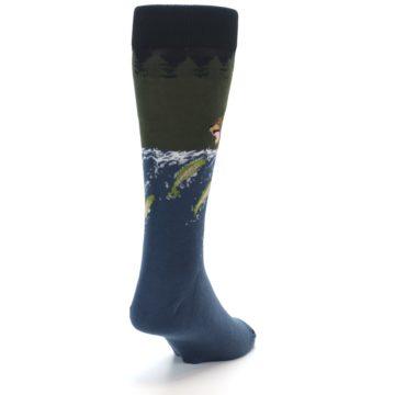 Image of Blue Green Bear Fishing Men's Dress Socks (side-1-back-20)