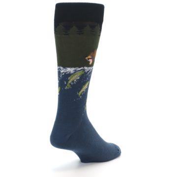 Image of Blue Green Bear Fishing Men's Dress Socks (side-1-back-21)