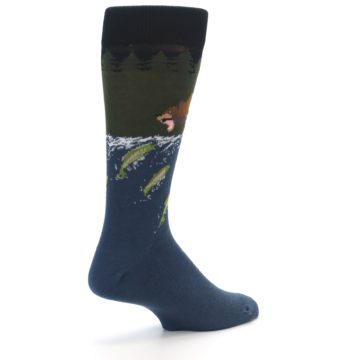 Image of Blue Green Bear Fishing Men's Dress Socks (side-1-back-22)