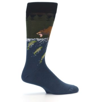 Image of Blue Green Bear Fishing Men's Dress Socks (side-1-24)