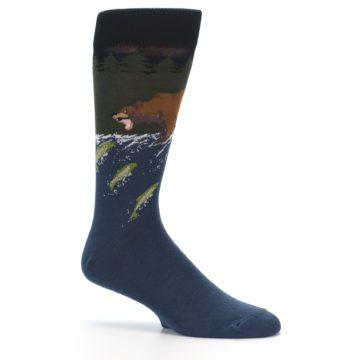 Image of Blue Green Bear Fishing Men's Dress Socks (side-1-26)