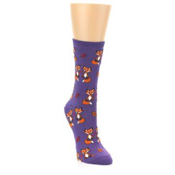 Image of Violet Purple Foxy Love Women's Dress Socks (side-1-front-02)