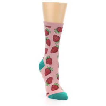 Image of Pink Strawberries Women's Dress Socks (side-1-front-02)