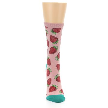 Image of Pink Strawberries Women's Dress Socks (front-04)