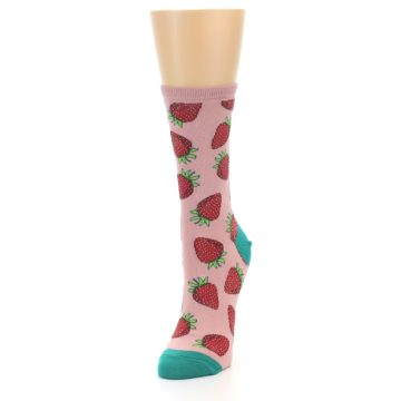 Image of Pink Strawberries Women's Dress Socks (side-2-front-07)