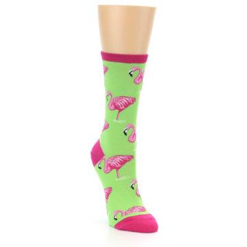 Image of Lime Pink Flamingo Women's Dress Socks (side-1-front-02)