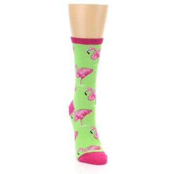 Image of Lime Pink Flamingo Women's Dress Socks (side-1-front-03)