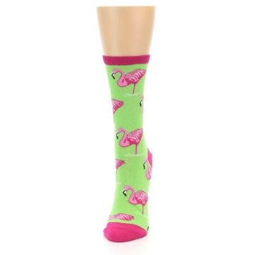 Image of Lime Pink Flamingo Women's Dress Socks (side-2-front-06)