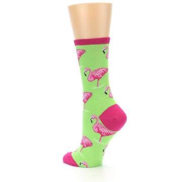 Image of Lime Pink Flamingo Women's Dress Socks (side-2-back-14)