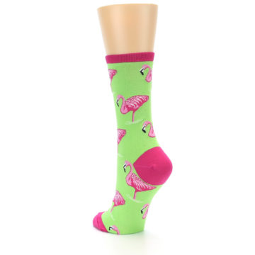 Image of Lime Pink Flamingo Women's Dress Socks (side-2-back-15)